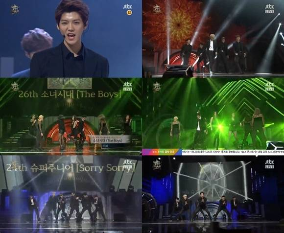 EXO & f(x) cover TVXQ, Super Junior, and Girls' Generation at '28th Golden Disk Awards'
