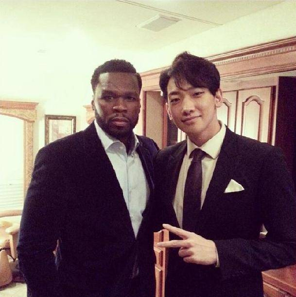 Rain hangs out with American rapper 50 Cent