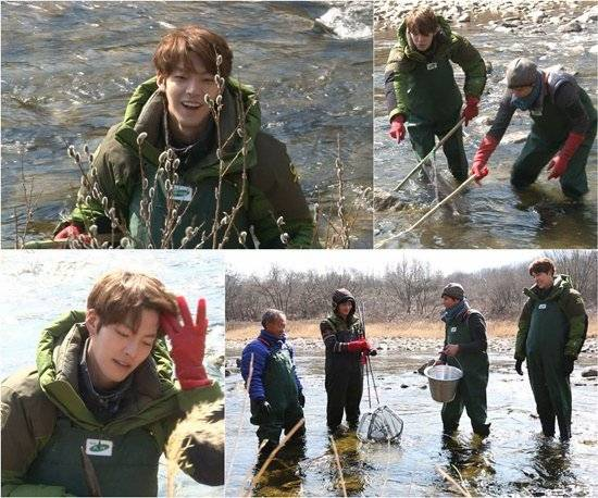 Kim Woo Bin surprises the cast with his fishing skills in preview cuts for 'Four Guys One Girl'