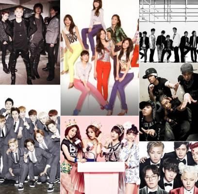 4minute,BAP,Big-Bang,Block-B,EXO,Girls-Day,INFINITE,SHINee,Girls-Generation,Super-Junior