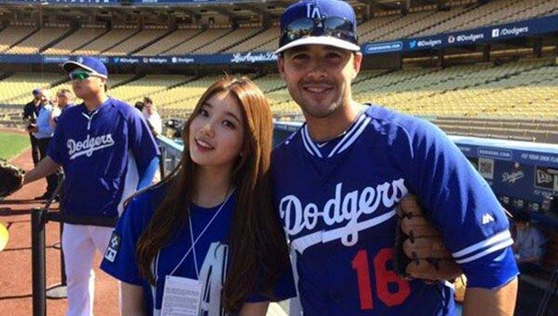 Suzy Throws The Ceremonial First Pitch At The LA Dodgers