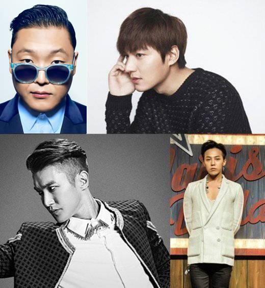 Lee Hyori, Big Bang, G-Dragon, Chanyeol, Taeyeon, Siwon, Donghae, Psy, Lee Min Ho, Jang Geun Suk, Ivy, Navi, Lee Jun Ki, Kim Jin Pyo, Park Ji Yoon