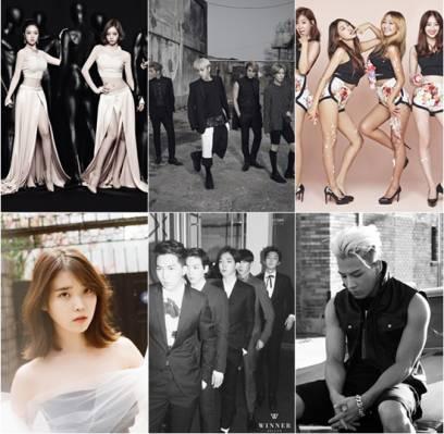 B2ST,Taeyang,Girls-Day,SISTAR,IU,winner