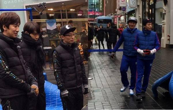 kim woo bin and lee hyun woo spotted filming for running