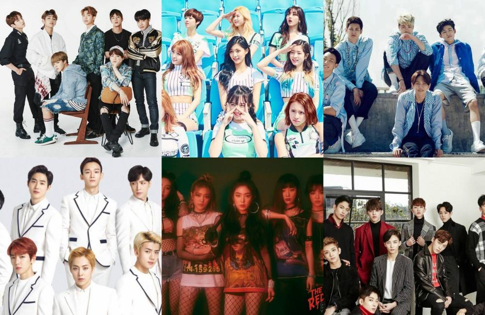 EXO, Seventeen, (Bangtan Boys) BTS, Red Velvet, iKON, TWICE