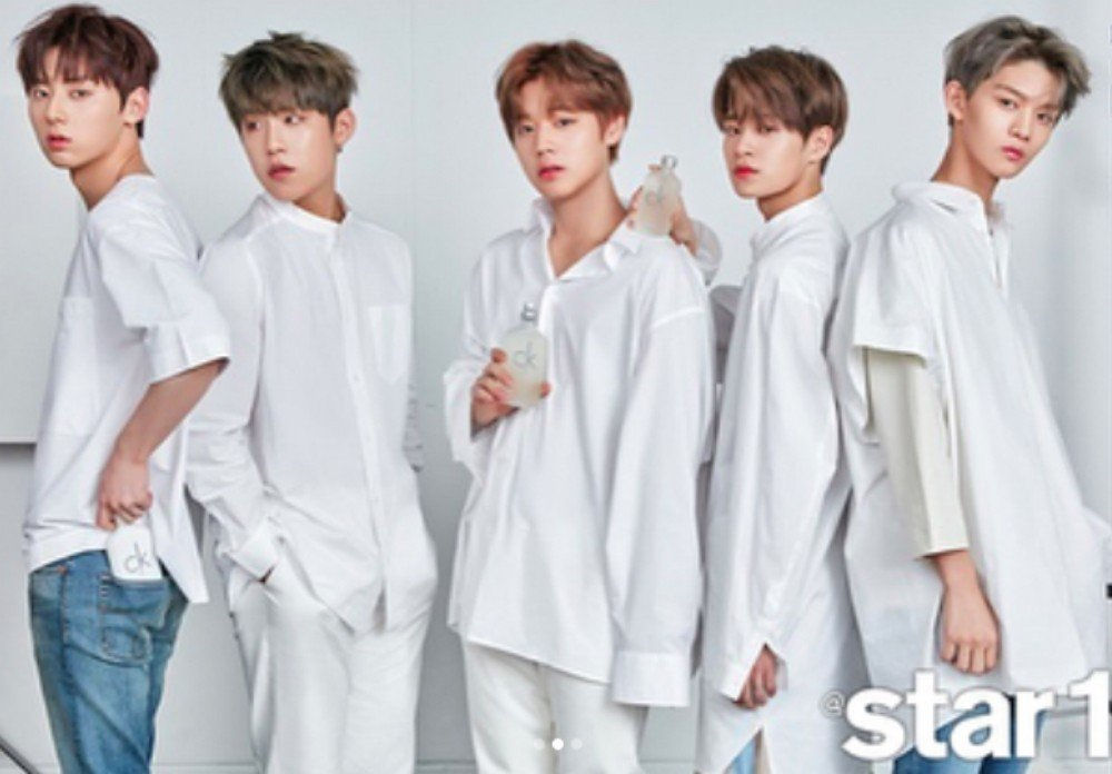 wanna one pose for the cover of star1 allkpop