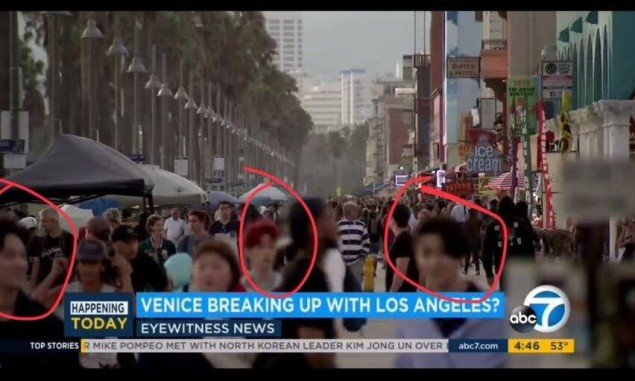 ABC7 News Of Los Angeles In A Scene Showing The Busy Streets LA For Venice Breaking Up With Segment JB Youngjae