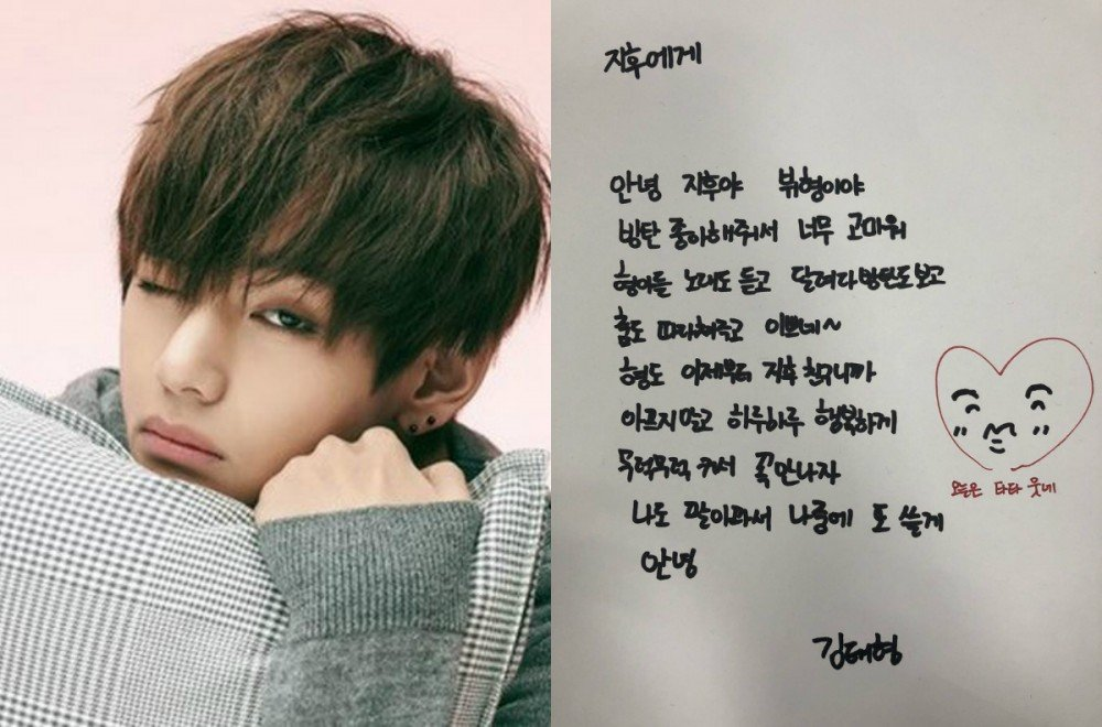 bts v responds to a 9 year old fan with a sweet handwritten letter
