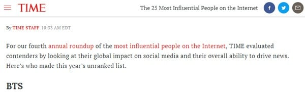 Image result for BTS Makes It To TIME's 25 Most Influential People on the Internet List