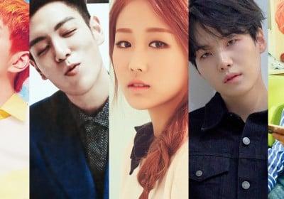 B.A.P, Bang Yong Guk, Big Bang, T.O.P, BTOB, Hyunsik, F.T. Island, Hongki, INFINITE, L, Hoya, SHINee, Onew, Shinhwa, Junjin, Dongwan, Andy, VIXX, Ken, Hongbin, Seventeen, S.Coups, (Bangtan Boys) BTS, SUGA, Lovelyz, Baby Soul, MONSTA X, Jooheon, Kihyun, Wanna One, Yoon Ji Sung, Kwon Hyun Bin, Kim Sang Kyun