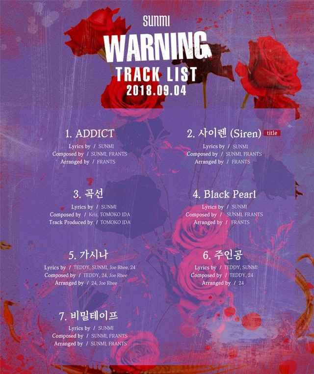 Sunmi reveals official track list for upcoming 'Warning