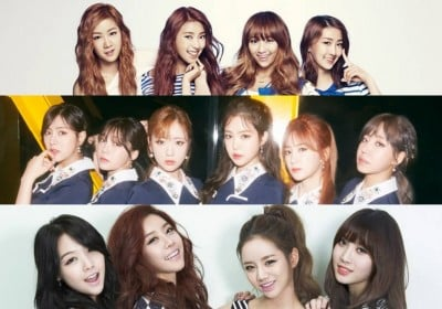 4minute,AOA,A-Pink,Girls-Day,KARA,SECRET,SISTAR,T-ara