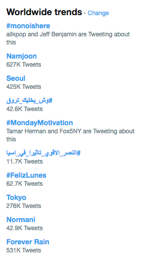 MONOISCOMING, #monoishere, Namjoon, and more trend worldwide
