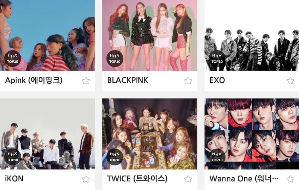 A Pink, BTOB, EXO, BTS, MAMAMOO, iKON, TWICE, BLACKPINK, Bolbbalgan4, Wanna One