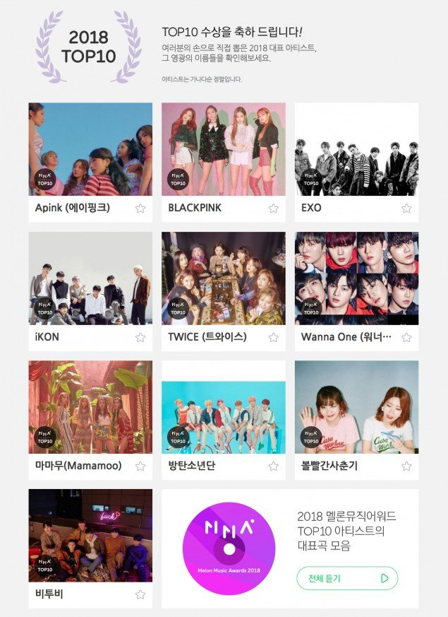 2018 Melon Music Awards' announces this year's Top 10
