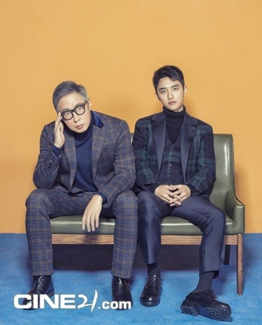 EXO's D.O. and 'Swing Kids' director Kang Hyung Chul pose together for 'Cine 21'
