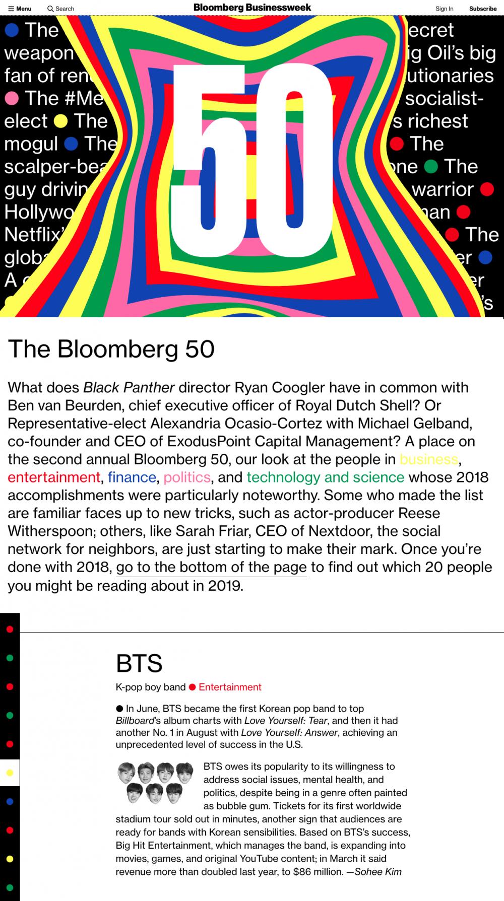BTS menjadi grup K-Pop pertama yang berhasil masuk daftar The Bloomberg 50 (dok. Bloomberg/Allkpop)