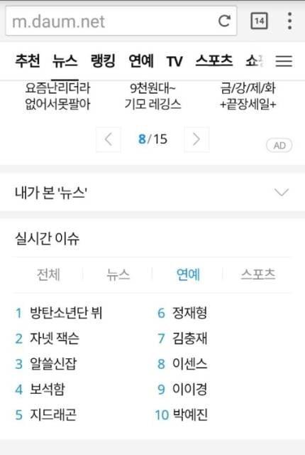 V berada di nomor 1 pencarian real time Daum