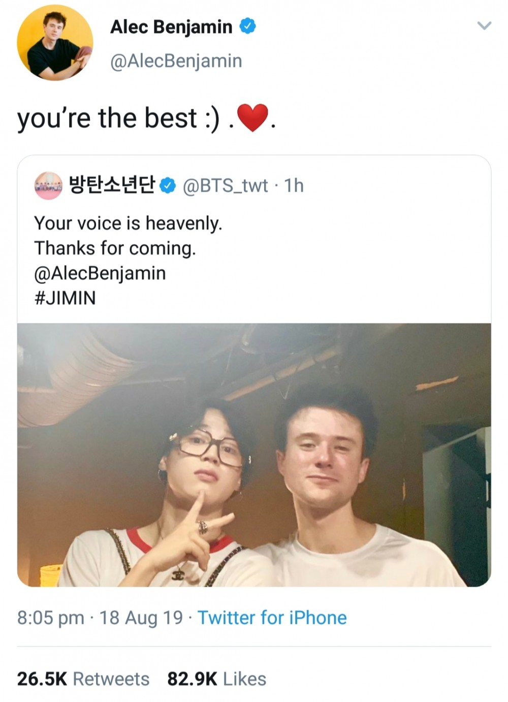 BTS Jimin spotted attending Alec Benjamin's show in Seoul
