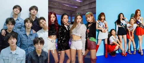 BLACKPINK, BTS, Red Velvet