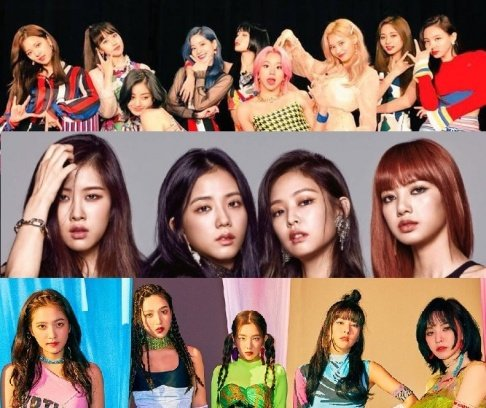 BLACKPINK, Cosmic Girls, fromis_9, GFriend (Girlfriend), ITZY, IZ*ONE, Lovelyz, MAMAMOO, Red Velvet, TWICE