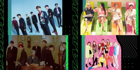 GOT7, IZ*ONE, Kim Chung Ha, MAMAMOO, MONSTA X, Seventeen, TWICE