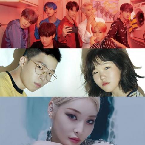 Akdong Musician (AKMU), BTS, Taeyeon, ITZY, Kim Chung Ha
