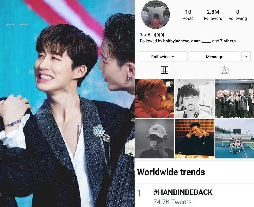 B.I updated his Instagram and SoundCloud accounts after 5 months and #HANBINBEBACK is trending worldwide | allkpop