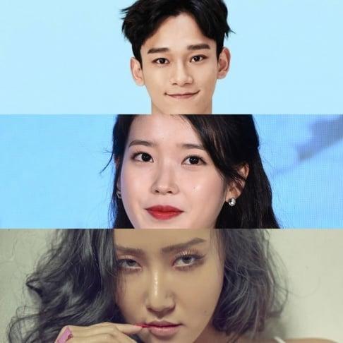 Na-Eun, Ahn Young Mi, Akdong Musician (AKMU), Chen, Kim Se Jung, IU, Jo Jung Suk, Kang Ha Neul, KARD, N.Flying