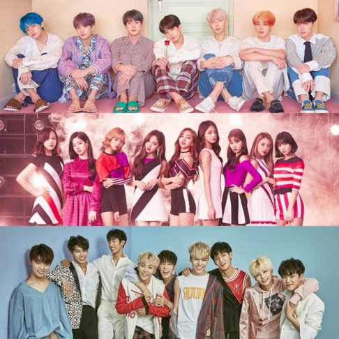 BLACKPINK, BTS, Cosmic Girls, EVERGLOW, EXO, Taeyeon, GOT7, ITZY, IU, IZ*ONE, MAMAMOO, MONSTA X, NU