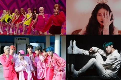 BTS, CLC, ITZY, Kim Chung Ha, LOONA, MAMAMOO, Hwa Sa, Taemin, TWICE, TXT