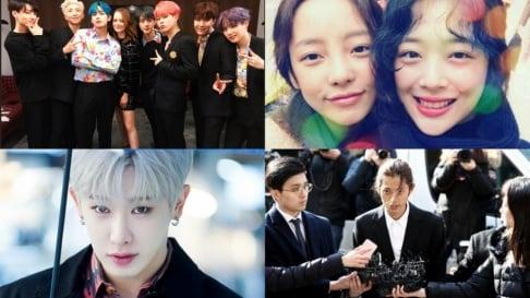 AB6IX, Seungri, BLACKPINK, BTS, CIX, Sulli, B.I, ITZY, IZ*ONE, Jung Joon Young, Wonho, Woojin, Kangin, SuperM, The Boyz, TWICE, Kang Daniel, X1, HyunA