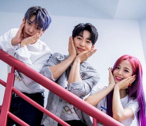 Naeun, Cha Eun Woo, Jisoo, Jung Chae Yeon, Jinyoung, Mina, Minhyuk, Jaehyun, Mark, Doyoung, Irene, Mingyu, Jungyeon, Ong Seong Wu
