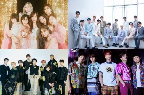 ATEEZ, BLACKPINK, BTS, CIX, DAY6, Dream Catcher, EVERGLOW, EXO, GFriend (Girlfriend), GOT7, ITZY, NCT 127, NCT Dream, ONEUS, Red Velvet, Seventeen, Stray Kids, SuperM, TWICE, TXT