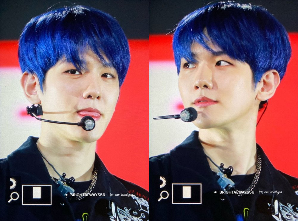Exo S Baekhyun Spotted Sporting Blue Hair Allkpop