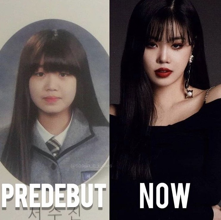Netizens discuss the differences between (G)I-DLE Soojin's pre-debut vs.  current photos | allkpop