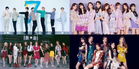 BTS, (G)I-DLE, IZ*ONE, Jaejoong, The Boyz, TWICE