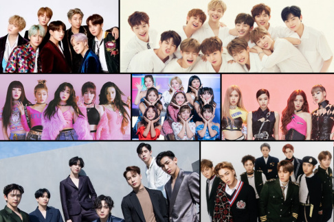 BLACKPINK, BTS, EXO, GOT7, IU, Red Velvet, TWICE, Wanna One