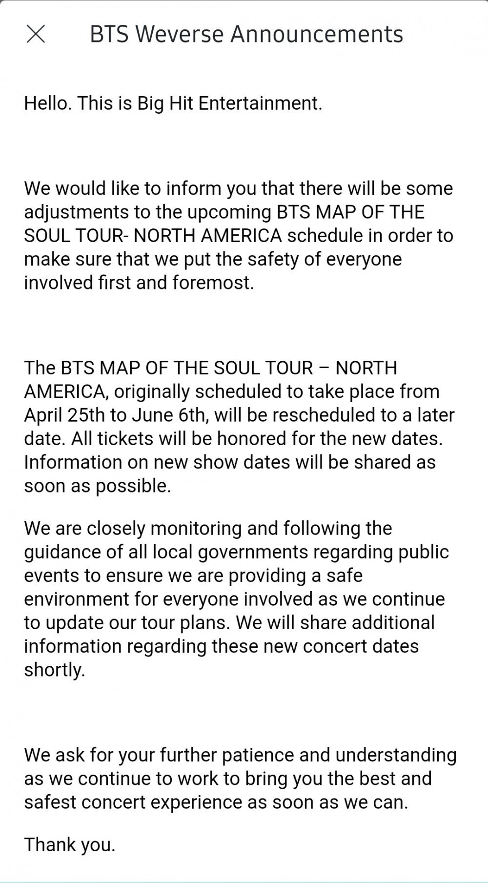 Big Hit Entertainment Announces Postponement Of Bts S Map Of The Soul Tour In North America Allkpop