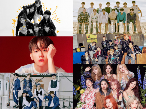 ATEEZ, BTS, CRAVITY, Suho, Baekhyun, (G)I-DLE, GOT7, IZ*ONE, MONSTA X, NCT 127, NCT Dream, NU
