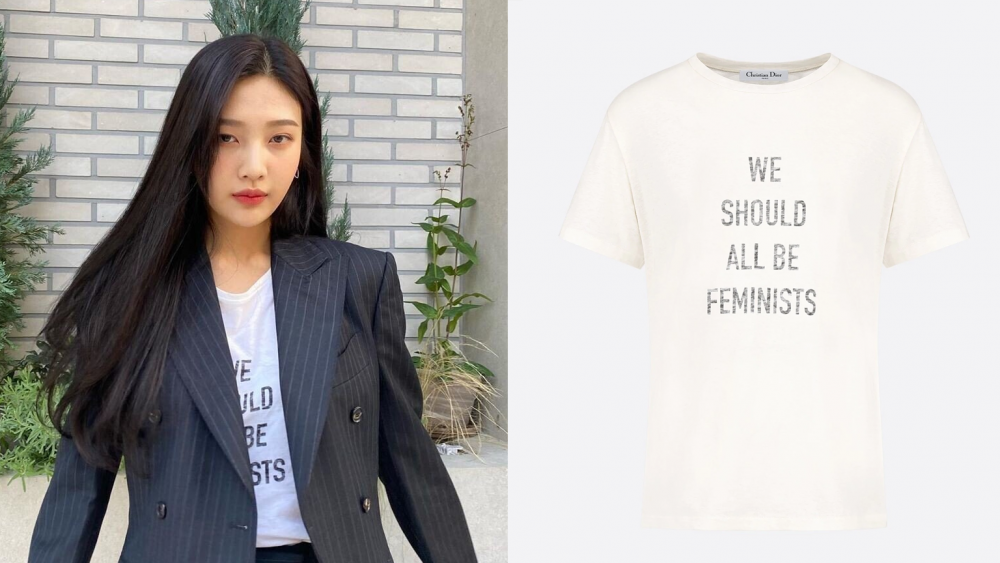 """Controversy rises after Red Velvet's Joy is seen wearing a T-shirt with the  phrase """"We Should All Be Feminists"""" 