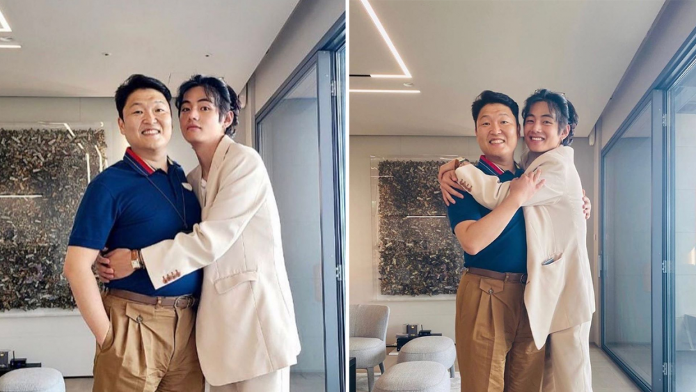 Netizens can't get over how cute Psy and BTS's V are in recent photos of the two world stars
