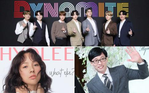 BTS, Lee Hyori, Lim Young Woong, Yoo Jae Suk