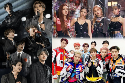 Big Bang, BLACKPINK, BTS, EXO, GOT7, iKON, MAMAMOO, MONSTA X, NCT 127, NCT Dream, Red Velvet, Seventeen, Stray Kids, TWICE, TXT