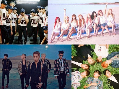 Akdong Musician (AKMU), AOA, Seolhyun, Big Bang, BoA, EXO, f(x), Krystal, Girls