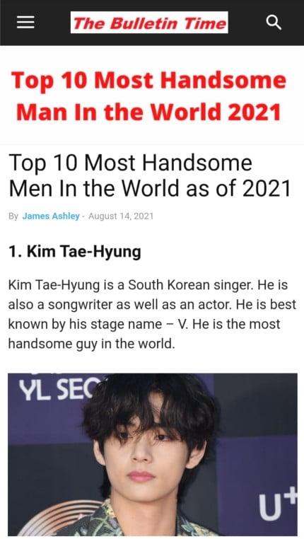 СМИ назвали Ви из BTS самым красивым мужчиной 2021 года